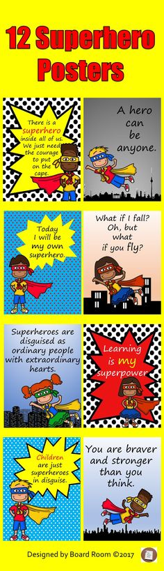 This set of 12 posters using colourful superhero images with motivational quotes make a great display to promote self-belief and a growth mindset culture in your classroom. Superhero School Theme, Superhero Classroom Decorations, School Themes, Superhero Images, Superhero Poster, Classroom Quotes, Classroom Ideas, Teaching Materials, Teaching Resources