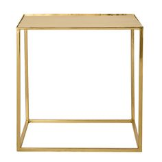 Gold Square Metal Table Square x A square shape table with gold finish metal square base and straight legs. Cube Coffee Table, Cube Side Table, Metal End Tables, Small Tables, Cubes, Square Tables, Deco Design, Modern Table, Contemporary Furniture