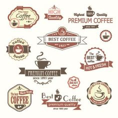 Modern Coffee Label vector set 04