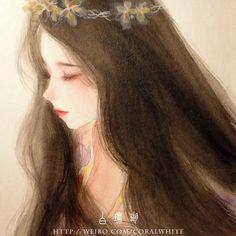 海藻发-白珊瑚coral_水彩,少女,古风_涂鸦王国