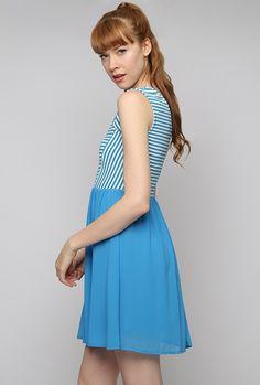 Dress - Harbor View Stripe and Solid Sleeveless Dress in Blue Retro Vintage Dresses, Retro Dress, Nautical Dress, Harbor View, Mod Dress, Sweet Dress, Pleated Skirt, Knit Dress, Bodice