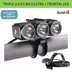 Luces para bicicletas triple faro delantera para bicis de montaña y paseo. Accesorio iluminacion deportes ciclismo.