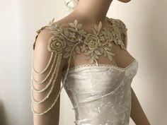 Ivory silver Lace Shoulder Necklace shoulder bridal lace shoulder, wedding shoulder necklace, Rhinestone Necklace, Lace shoulder Jewelry in 2020 Shoulder Jewelry, Shoulder Necklace, Pretty Dresses, Beautiful Dresses, Fantasy Gowns, Prom Dresses, Wedding Dresses, Mini Dresses, Ball Dresses