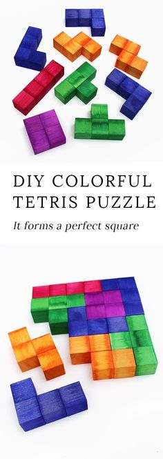 Children of the 80's, get ready to swoon! This vibrant Tetris Inspired Puzzle forms a perfect square when solved! It has more than one solution, and the pieces can also be used as blocks. #tetris #woodcrafts #puzzles #kidscrafts #rainbowcrafts via @https://www.pinterest.com/fireflymudpie/