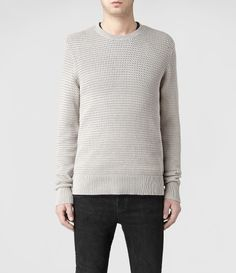 Allsaints Ettrick Crew Jumper in Gray for Men (Taupe Marl)