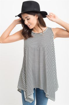 Super fun + swingy tunic tank made from a soft + stretchy terry knit, constructed in an A-line silhouette, complete in your staple stripes.