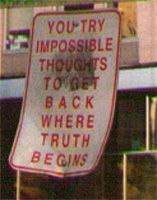 You try impossible thoughts to get back where truth begins
