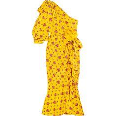 Gucci One-shoulder metallic silk-blend jacquard midi dress (13.105 BRL) ❤ liked on Polyvore featuring dresses, gucci, yellow dresses, yellow midi dress, metallic dress, holiday party dresses and one shoulder ruffle dress