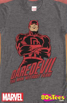 Daredevil Man Without Fear T-Shirt: Daredevil Mens T-Shirt  This popular Marvel celebrity hero has been seen in films, videos and books and has been artfully designed and illustrated.