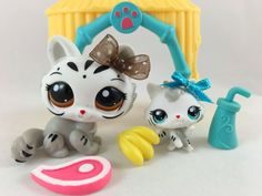 Littlest Pet Shop RARE Mommy & Baby White Tigers #3585 & #3586 w/Accessories #Hasbro