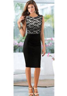 Black Floral Lace Patchwork Sleeveless Dress cichic.com