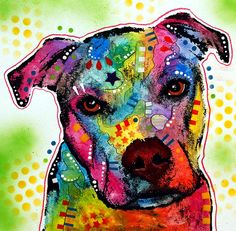 """Dean Russo pitbull art. <3   It's how you raise your pitty that determines a """"bully's"""" dog behaviour, ... truth for all of YOU who don't know any better."""