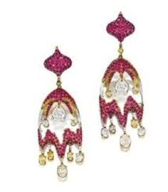 Wallace Chan earrings in titanium set with rubies, diamonds and rock crystal drops