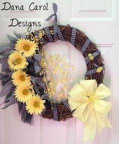 daisy wreaths | Buzz - Yellow Daisy Door Wreath. $52.00, via ... | wreaths and flow...