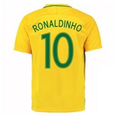 2016 Brazil National Team Ronaldinho 10 Home Soccer Jersey [D988]