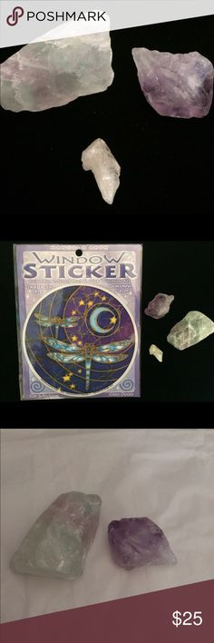 """Spiritual Bundle This listing is for 🔮 Crystal Bundle. Beautiful piece of Rainbow Fluorite 1 3/4"""" x 1 1/4"""", very Nice Amethyst, small piece of Citrine. Also includes New in package Mandala Arts Dragonfly 2 sided Window Sticker purchased at Cassadaga Spiritualist Camp. Accessories"""