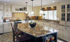 A pretty golden granite kitchen countertop