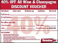 Off-licence chain Threshers is braced for an onslaught of bargain-hunting drinkers as an online discount voucher is downloaded by millions of people.