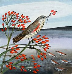 Redwing and Rosehips, acrylic on canvas, by Angela Harding, Bircham Gallery in Holt