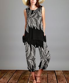 Another great find on #zulily! Black & White Leaves Tunic & Capri Pants Set - Plus by Sunflower #zulilyfinds