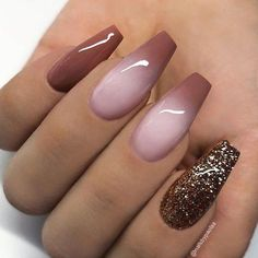 """If you're unfamiliar with nail trends and you hear the words """"coffin nails,"""" what comes to mind? It's not nails with coffins drawn on them. It's long nails with a square tip, and the look has. Classy Nails, Trendy Nails, Cute Nails, Acrylic Nail Designs, Nail Art Designs, Acrylic Nails, Nails Design, Brown Nail Designs, Brown Nail Art"""