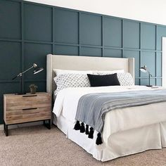 You have a nice living room but no room? And if you partition your living room to create this room you dream? How to create two separate spaces in a room without heavy work? Guest Bedroom Colors, Bedroom Colour Palette, Bedroom Sets, Home Decor Bedroom, Bedroom Furniture, Master Bedroom, Bedroom Storage, Basement Guest Rooms, Wingback Headboard