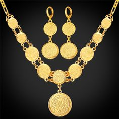 US $ 9.88 # U7 [US $9.94 / set # Magic Cube Jewelry http://www.aliexpress.com/store/product/Coin-Necklace-Earrings-Set-For-Women-18K-Real-Gold-Plated-2015-Fashion-Jewelry-Muslim-Islamic-Arab/914336_32381829793.html; US $9.97 / set # Yocool http://www.aliexpress.com/store/product/Gold-Coin-Set-Round-Pendant-Necklace-Earring-Gift-18K-Real-Gold-Plated-Money-Symbol-Classic-Jewelry/338972_32423312944.html]