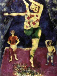 "Marc Chagall, ""Les Trois Acrobates""   #marcchagall #Marc-Chagall #Chagall http://www.johanpersyn.com/chagall-cubist-colours/"