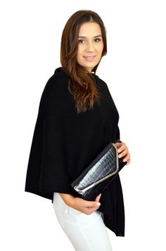 df740a4d1 Black cashmere multiway poncho wrap teamed with high gloss black patent  crocodile embossed clutch bag from