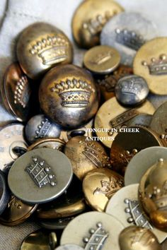 Tongue in Cheek Antiques: Crown Buttons found at the Brocante...