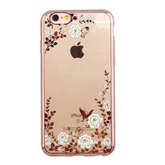 Gravydeals Luxury Shiny Plating Frame Secret Garden Bling Glitter Slim Cushion Electroplate TPU Gel Scratch Resistant Protective Cover For Apple iPhone 7 plus Case (Rose Golden+White flower) -- Awesome products selected by Anna Churchill