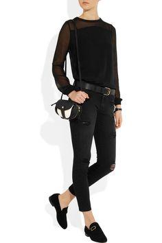 Faith Connexion|Silk-chiffon blouse, Current/Elliott jeans, Jérôme Dreyfuss bag, and Isabel Marant shoes.
