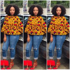 Are you looking for some stylish and trendy ankara tops to wear with Jeans? Then this post will help you in looking for the perfect African print to buy or… African Fashion Ankara, Ghanaian Fashion, African Print Dresses, African Dress, African Prints, African Fabric, African Print Top, African Safari, African Tops