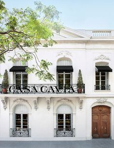 The exterior of the concept store/restaurant Casa Cavia, set in a 1920s mansion in the Palermo Chico neighborhood of Buenos Aires.