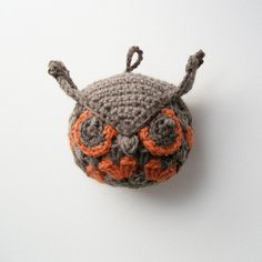 Rupert The #Crochet Owl in Coral and Grey is super cute. Owls are hot right now!