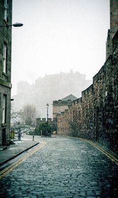 Edinburgh's cobbled streets--lovely to stroll along them in a light rain.