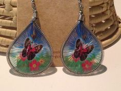 Handmade Woven Drop Earrings w/ Designs made in Peru by impoverished artisans. Colorful. Various Designs. Fair Trade. A conversation starter for sure!