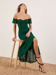 Since people just won't stop getting married, we'll keep making wedding appropriate dresses. This is an off-the-shoulder, midi length dress with a sweetheart neckline and ruffle edged sleeves. Evening Dresses, Prom Dresses, Formal Dresses, Pretty Dresses, Beautiful Dresses, Emerald Bridesmaid Dresses, Bcbg, Dress Outfits, Fashion Outfits