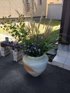 手作りの陶器の壺と野の花を そえて