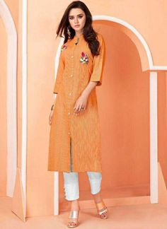 Make the heads flip as soon as you costume up with this orange cotton party wear kurti. You will see some intriguing patternsperformed with embroidered work. (Slight variation in color, fabric & work is possible. Model images are only representative.) Please re-pin 😍💞 kurti ladies, indian cloth Ladies Kurti Design, Party Wear Dresses, Summer Dresses, Churidar Designs, Kurti Collection, Trendy Sarees, Kurti Designs Party Wear, One Piece Outfit, Orange Fashion