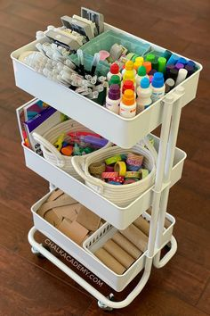 Kids Art Cart, Storage System, and Organization Tips - - Our kids art cart has been a game changer for encouraging independence and creativity. Here are tips for organizing and minimizing art clutter! Bedroom Storage Ideas For Clothes, Bedroom Storage For Small Rooms, Art Storage, Storage Hacks, Kids Craft Storage, Storage For Legos, Art Supplies Storage, Creative Storage, Storage Design