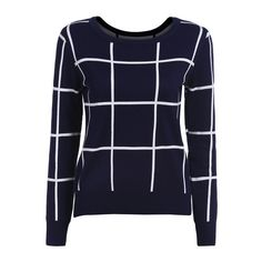 SheIn(sheinside) Navy Round Neck Plaid Top With Bodycon Skirt ($18) ❤ liked on Polyvore featuring tops, navy blue long sleeve top, tartan top, navy blue tops, bodycon two piece and bodycon top
