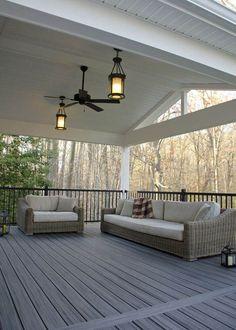 Custom Trex Deck/Porch, Malvern PA - Keystone Custom Decks - love the fan and fixtures - Outdoor Deck Lighting, Outdoor Decor, Outdoor Deck Decorating, Design Jardin, Backyard Patio Designs, Pergola Designs, Backyard Porch Ideas, Back Porch Designs, Wood Deck Designs