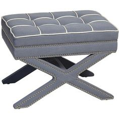 Universal Lighting and Decor Alexei Blue Ottoman with Nailhe ...