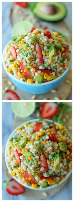Strawberry Avocado Couscous Salad with Lime Vinaigrette #strawberry #avocado #salad