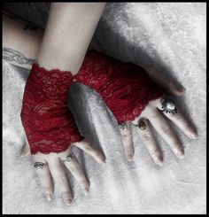 Undead Lace Fingerless Gloves - Deep Wine Red - Vampire Dark Fusion Bohemian Victorian Wedding Garnet Gothic Bellydance Goth Lolita Fetish. $30.00, via Etsy.