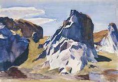 Edward Hopper: Lime Rock Quarry, watercolor on paper, Farnsworth Art Museum, Rocklin, American Realism, American Artists, Manet, Museum Of Fine Arts, Art Museum, Edward Hopper Paintings, Most Famous Artists, Mountain Art, Illustration Art
