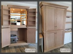 This week we delivered an Oak liquor cabinet to very happy clients. Custom made to fit all types of beverage glassware, a bar fridge and an ice machine.  When it's time to create the concoctions, just pull out the wide shelf for a roomy mixing surface.   Added extras like Grass soft-closing hinges and runners, down lights & mirrors were also fitted.   For quotations or enquiries please contact us! Tel: 021 873 5792 / khoutwerke@icon.co.za  Follow us on Pinterest for more inspirational ideas Soft Closing Hinges, Wine Cellars, Bar Counter, Mirror With Lights, Downlights, Runners, Liquor Cabinet, Custom Made, Beverage