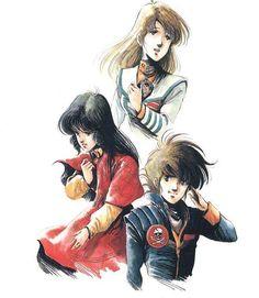 Macross, Lynn Minmay, Hikaru + Misa, by Haruhiko Mikimoto