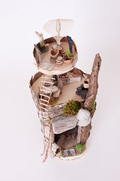 Fairy Tree House Building Kit includes sturdy branches and several plywood platforms to create a multi-level treehouse for fairies. Decorate with the included natural moss, bark, feathers, stones, pinecone and bark to create a magical fairy hideaway! Fairy Tree Houses, Fairy Village, Fairy Garden Houses, Fairy Gardens, Waldorf Crafts, Fairy Crafts, Fairy Furniture, Fairy Dolls, Fairy Land
